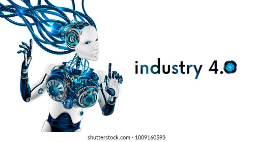 Beautiful Robot woman isolated on white background. Artificial intelligence robot connected with wires to network. cyborg has human face and hands. Industrial revolution 4.0. Scifi future concept.