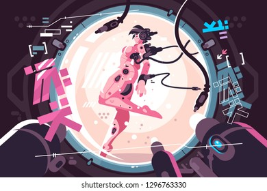 Beautiful robotic woman in incubator. Young lady connected to wire flat style vector illustration. Female humanoid robot or cyborg. Future technology concept