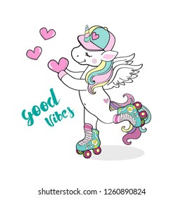 Beautiful rollerblading unicorn holding a heart and inscription good vibes on a white background