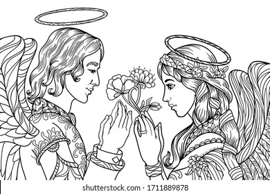 Angels Coloring Book Images Stock Photos Vectors Shutterstock