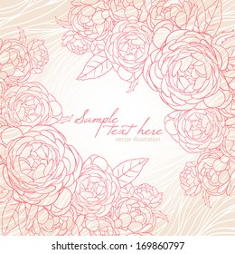 beautiful romantic card with pink roses on a beige striped background and with place for text