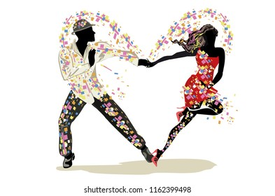 Beautiful romantic couple in passionate Latin American dances. Salsa festival. Hand drawn poster background.