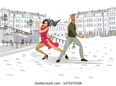 Beautiful romantic couple in passionate Latin American dances in the city. Hand drawn vector illustration.