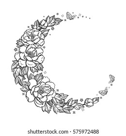 Beautiful romantic crescent moon with rose or peony flowers and leaves. Decorative boho elements. Tattoo design. Greeting cards, invitations. Isolated vector illustration.