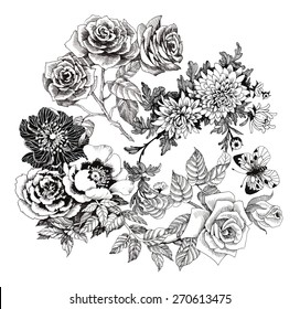 Beautiful romantic floral pattern with butterflies on white background vector illustration