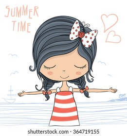 Beautiful romantic girl vector design. Summer time slogan.