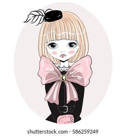 Beautiful romantic girl vector Illustration. Cute in a black hat, performer, singer, dancer, ballerina. Original character in vintage style.