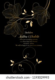 Beautiful romantic golden floral background with amaryllis flowers.