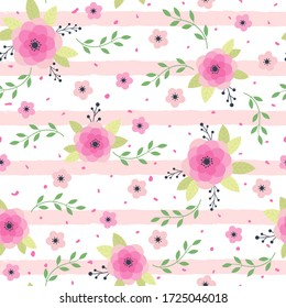 Beautiful romantic pink flowers. Texture for backgrounds. Vector illustration.