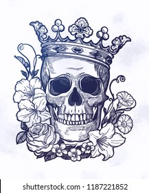 Beautiful romantic skull with crown.
