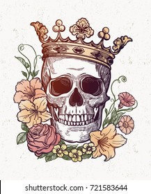 Beautiful romantic skull with crown and elegant wreath of flowers. Ink on aged card vintage background. Tattoo vintage design element. Vector illustration.
