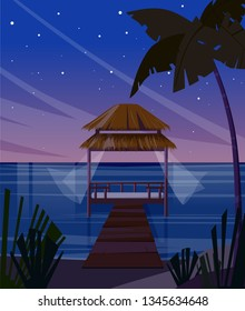Beautiful romantic tropical night. Exotic ocean landscape with palm trees. Romantic bungalow in sunset. Vector illustration.