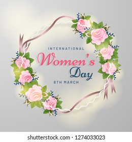 Beautiful rose flower decorated template or flyer design for International Womens Day celebration.