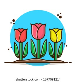 Beautiful Rose Flower Vector Illustration. Red Rose, Yellow Rose, Pink Rose. Flat Cartoon Style Suitable for Sticker, Wallpaper, Icon, etc.