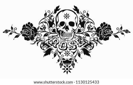 Beautiful Rose Skull Tattoo Design Elementillustration Stock Vector