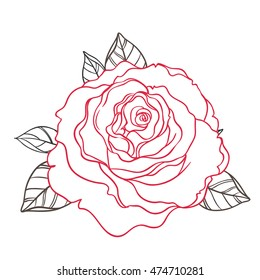 Blackwork Tattoo Flash Rose Flower Over Stock Vector Royalty Free