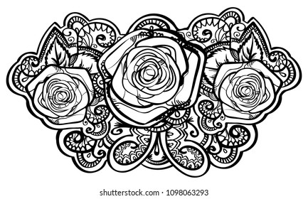 beautiful roses composition with leafs and tracery doodle , black outline line art isolated on white. vector illustration