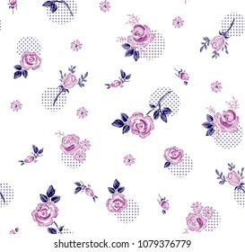 Beautiful Roses Pattern on circle dots for textile patern,fashion print