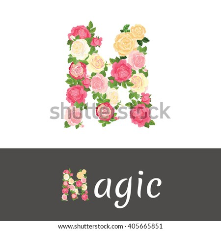 Beautiful Roses Shape Letter M Alphabet Stock Vector Royalty Free