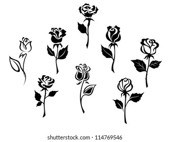 Beautiful roses silhouettes set for holiday gift design, such a logo. Jpeg version also available in gallery