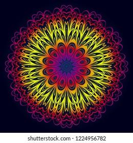 Beautiful round flower mandala. Vector illustration. Abstract.