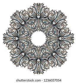 Beautiful round flower mandala. Vector illustration. Abstract