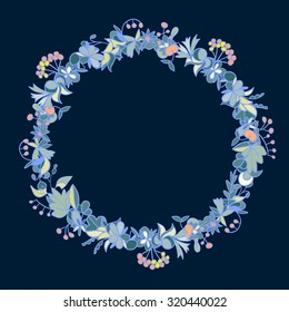 Beautiful round frame. Hand drawn circle of autumn leaves, berries and fruits. bright cute frame for your design. each element isolated from another