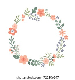 Beautiful round frame with wildflowers. Flat style. Vector illustration.