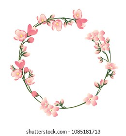 Beautiful round frame with wildflowers.  Vector illustration.