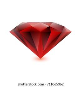 Beautiful ruby isolated on white background. Magic gemstone. Precious gem icon. Luxury symbol. Vector illustration.