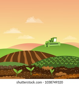 Beautiful Rural landscape. Farmworks. Combine Harvesting. Planting, growing vegetables, sprouts. Green fields, agricultural machines. Summer day vector illustration.