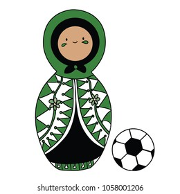 Beautiful russian doll with soccer ball wearing the colors of the Saudi Arabia team of football. Vector isolated on white background.