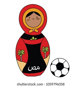 Beautiful russian doll with soccer ball wearing the colors of the Egypt team of football. Vector isolated on white background.