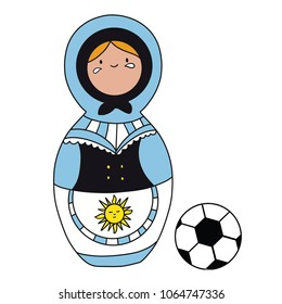 Beautiful russian doll with soccer ball wearing the colors of the Uruguay team of football. Vector isolated on white background.