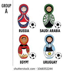 Beautiful russian doll with soccer ball wearing the colors of the Russia, Egypt, Saudi Arabia, and Uruguay team of football.  Group A. Vector isolated on white background.