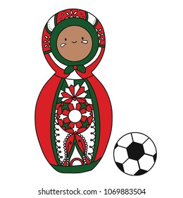 Beautiful russian doll with soccer ball wearing the colors of the Morocco team of football. Vector isolated on white background.