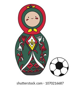 Beautiful russian doll with soccer ball wearing the colors of the Portugal team of football. Vector isolated on white background.