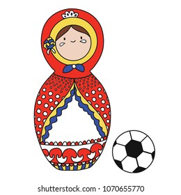 Beautiful russian doll with soccer ball wearing the colors of the Spain team of football. Vector isolated on white background.