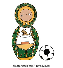 Beautiful russian doll with soccer ball wearing the colors of the Australia team of football. Vector isolated on white background.