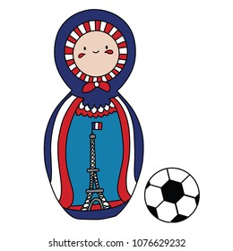 Beautiful russian doll with soccer ball wearing the colors of the France team of football. Vector isolated on white background.