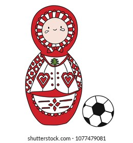 Beautiful russian doll with soccer ball wearing the colors of the Denmark team of football. Vector isolated on white background.