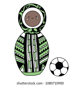 Beautiful russian doll with soccer ball wearing the colors of the Nigerian team of football. Vector isolated on white background.