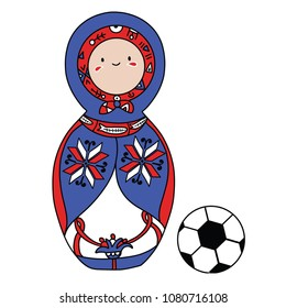 Beautiful russian doll with soccer ball wearing the colors of the Iceland team of football. Vector isolated on white background.