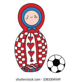 Beautiful russian doll with soccer ball wearing the colors of the Croatia team of football. Vector isolated on white background.