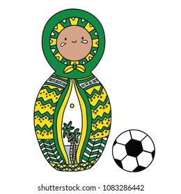 Beautiful russian doll with soccer ball wearing the colors of the Brazil team of football. Vector isolated on white background.