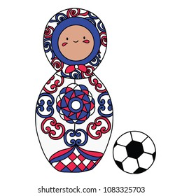 Beautiful russian doll with soccer ball wearing the colors of the Costa Rica team of football. Vector isolated on white background.