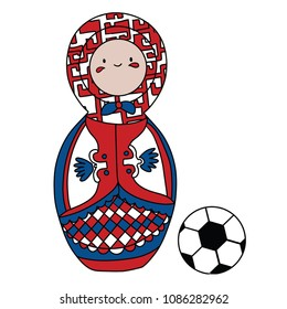 Beautiful russian doll with soccer ball wearing the colors of the Serbia team of football. Vector isolated on white background.