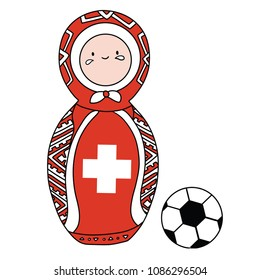 Beautiful russian doll with soccer ball wearing the colors of the Switzerland  team of football. Vector isolated on white background.