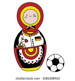 Beautiful russian doll with soccer ball wearing the colors of the Germany team of football. Vector isolated on white background.