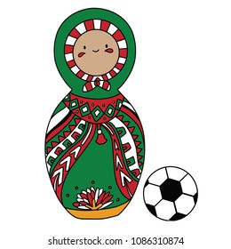 Beautiful russian doll with soccer ball wearing the colors of the Mexico team of football. Vector isolated on white background.